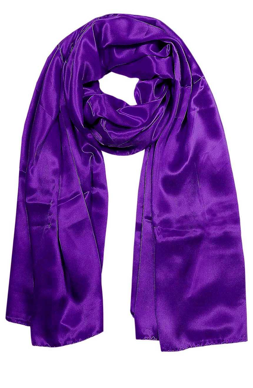 Womens silk neck scarf in purple 22×75 inches with plenty of material to wrap around the head or shoulders in many ways.