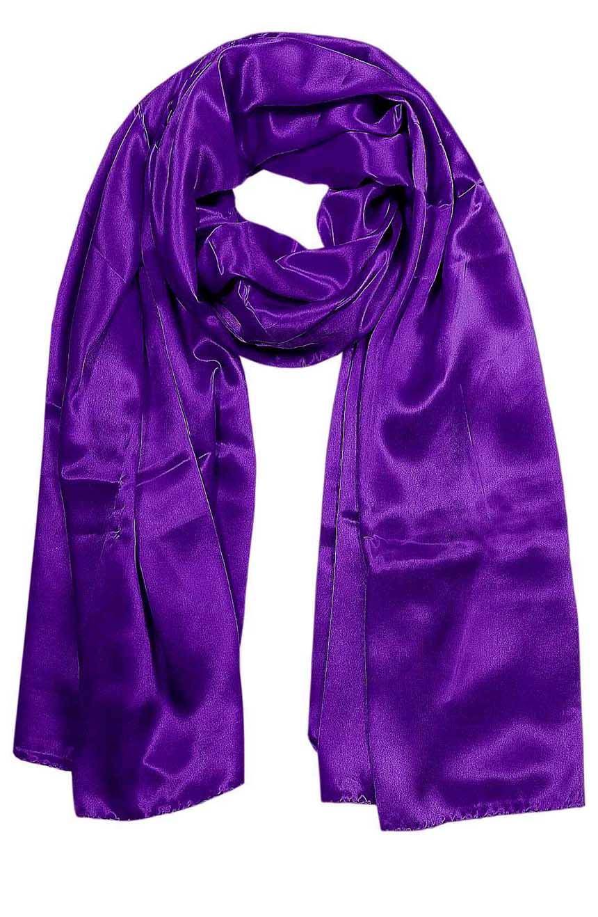 Purple mens aviator silk neck scarf 75 inches long in 100% pure satin silk.