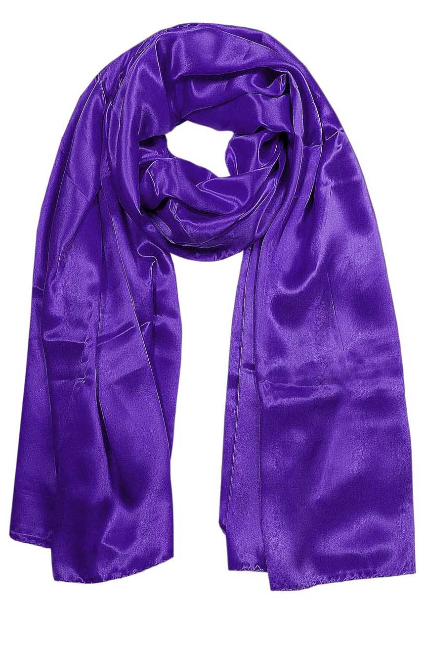Womens silk neck scarf in deep purple 22×75 inches with plenty of material to wrap around the head or shoulders in many ways.