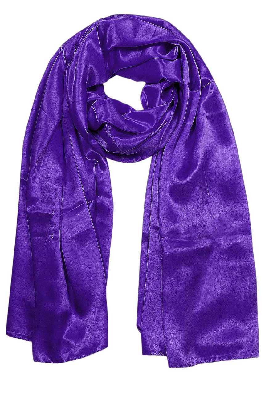 Deep Purple mens aviator silk neck scarf 75 inches long in 100% pure satin silk.
