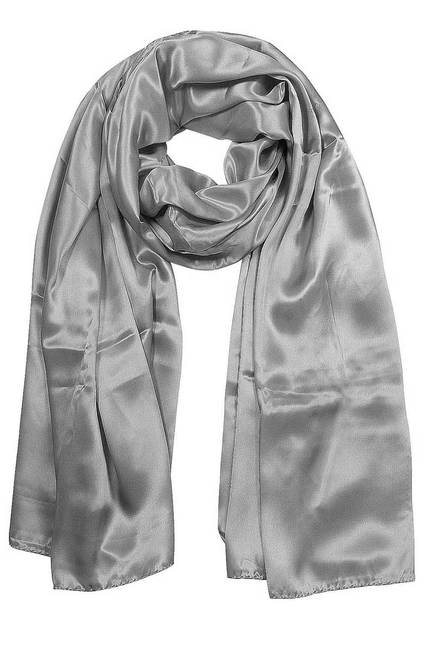 Womens silk neck scarf in light silver 22×75 inches with plenty of material to wrap around the head or shoulders in many ways.