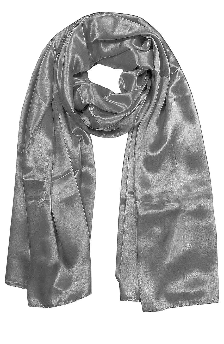 Womens silk neck scarf in silver grey 22×75 inches with plenty of material to wrap around the head or shoulders in many ways.