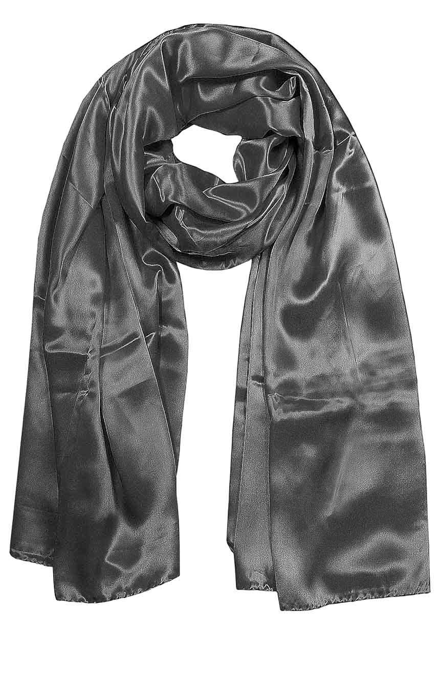 Womens silk neck scarf in rhino grey 22×75 inches with plenty of material to wrap around the head or shoulders in many ways.