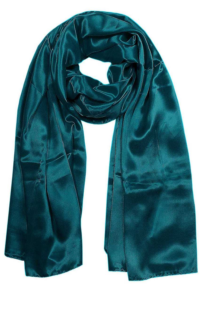 Womens silk neck scarf in green teal 22×75 inches with plenty of material to wrap around the head or shoulders in many ways.