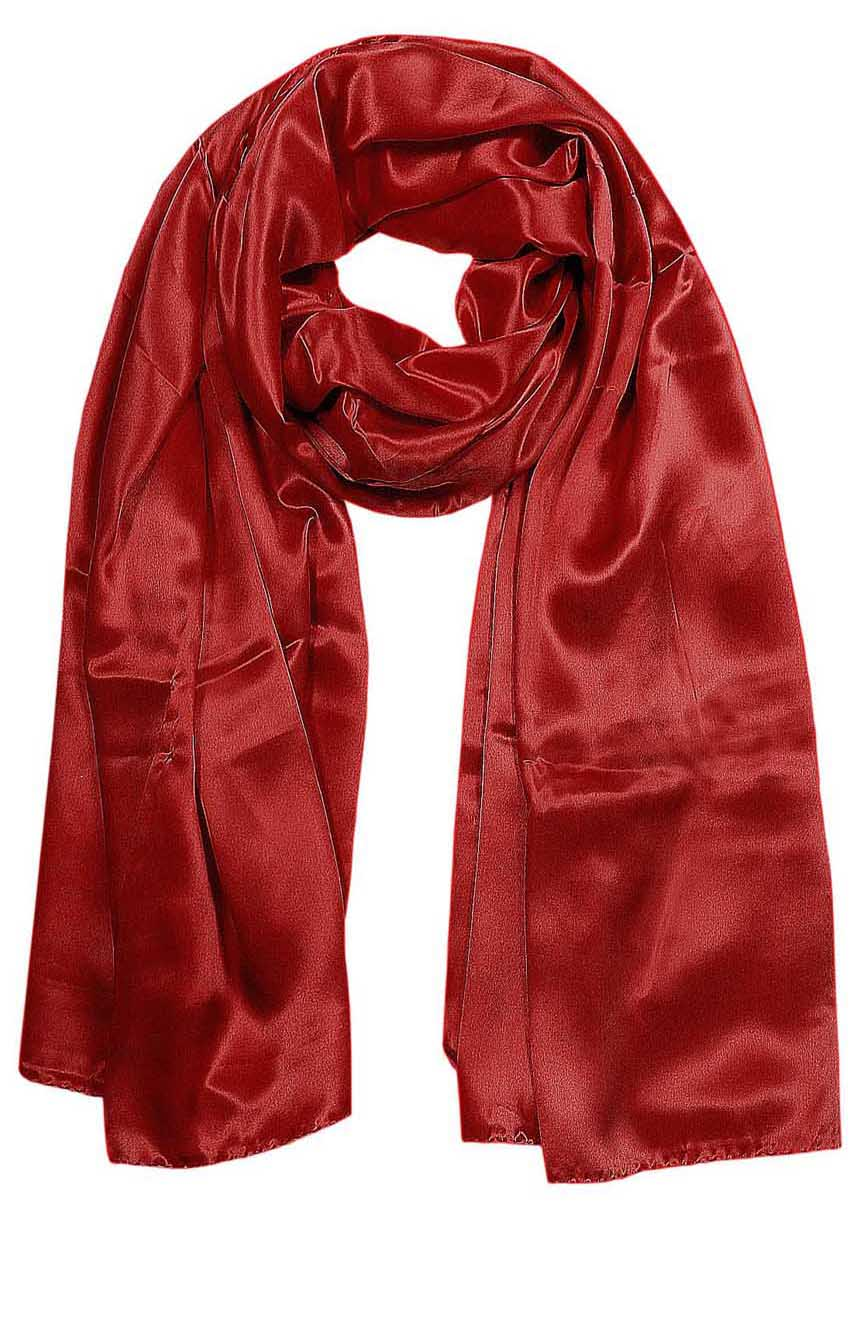 Womens silk neck scarf in orange brick color 22×75 inches with plenty of material to wrap around the head or shoulders in many ways.