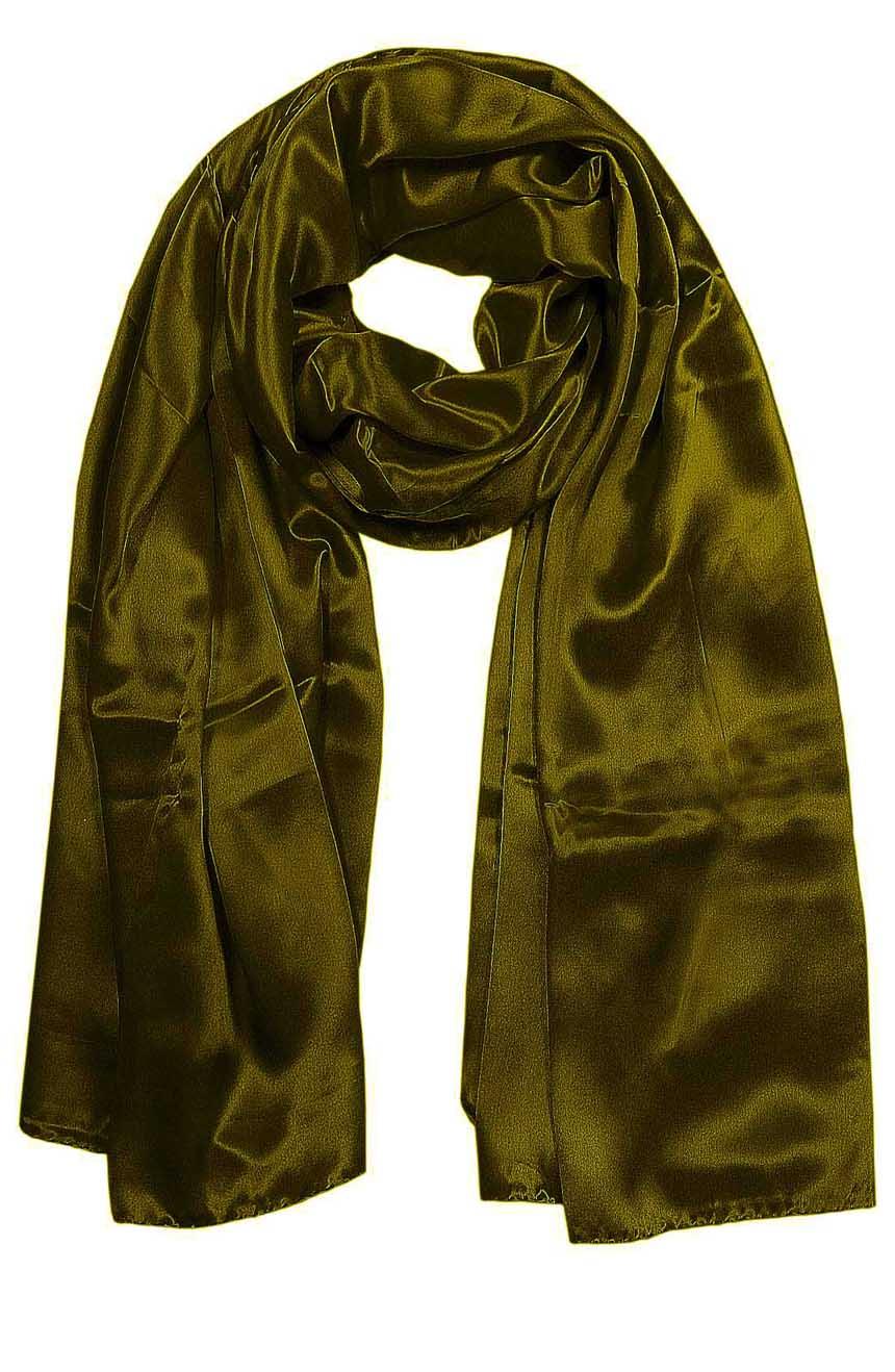 Dark Olive mens aviator silk neck scarf 75 inches long in 100% pure satin silk.
