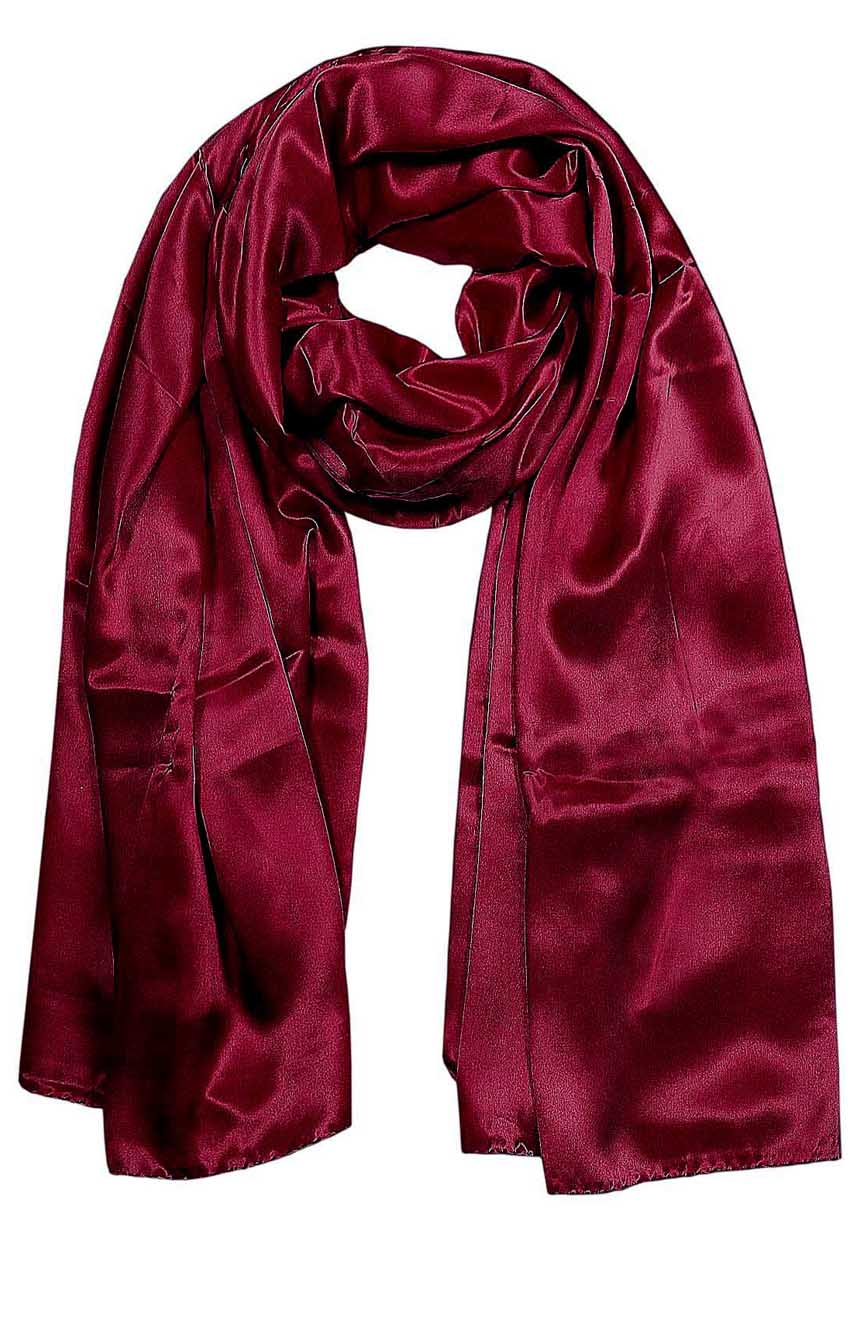 Womens silk neck scarf in dark burgundy 22×75 inches with plenty of material to wrap around the head or shoulders in many ways.
