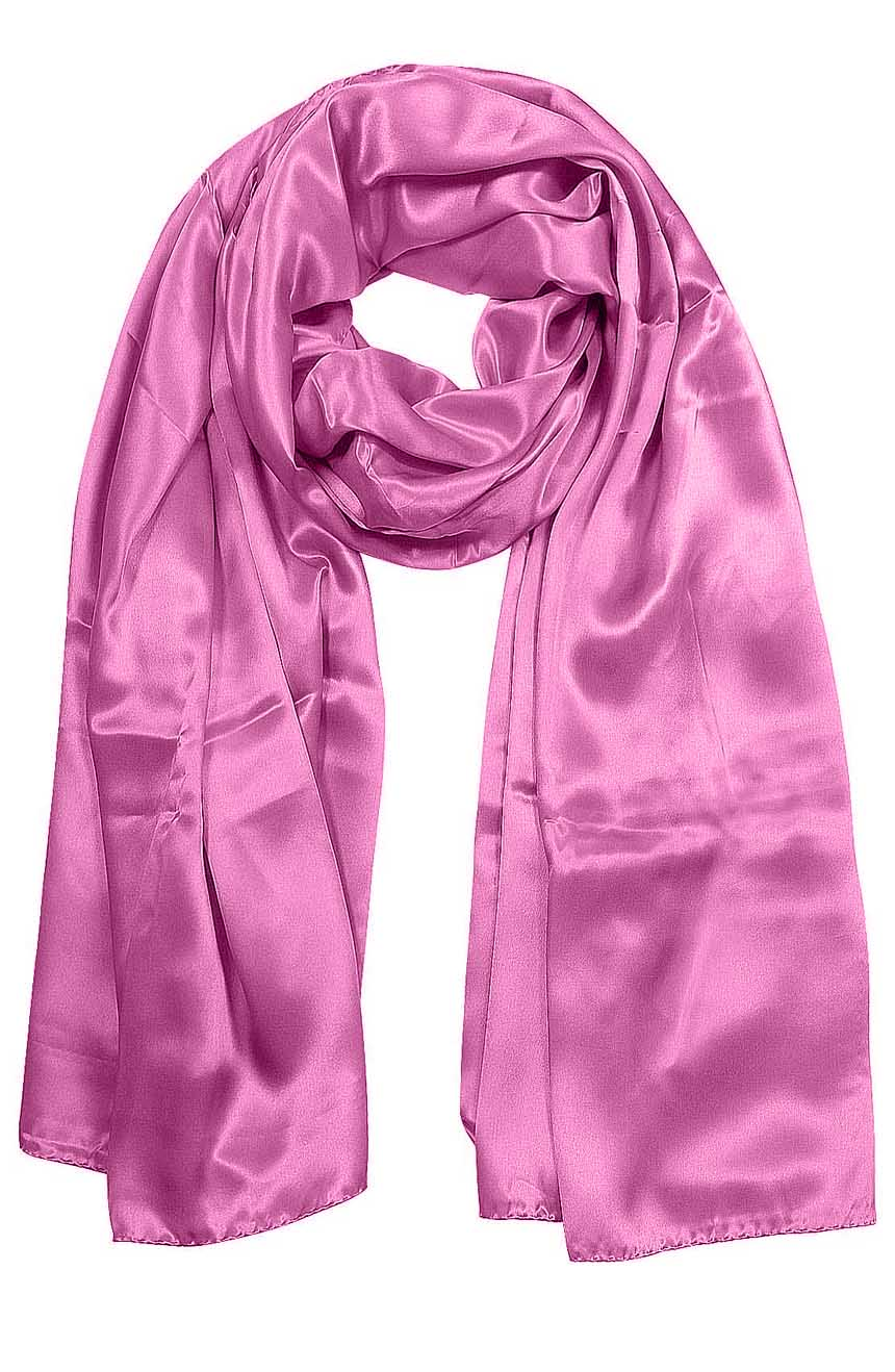 Womens silk neck scarf in Persian pink 22×75 inches with plenty of material to wrap around the head or shoulders in many ways.