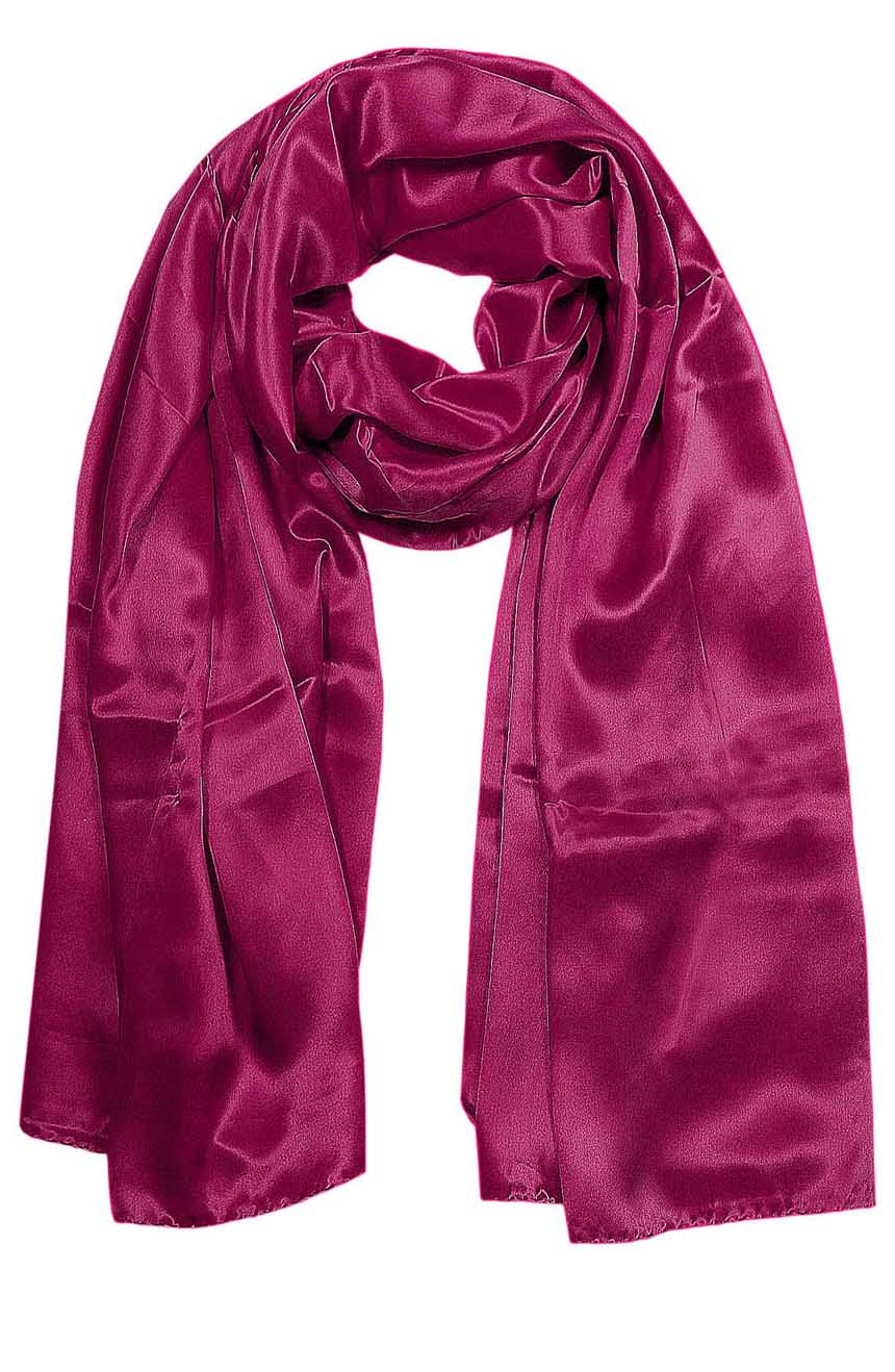 Womens silk neck scarf in Tyrian deep purple 22×75 inches with plenty of material to wrap around the head or shoulders in many ways.