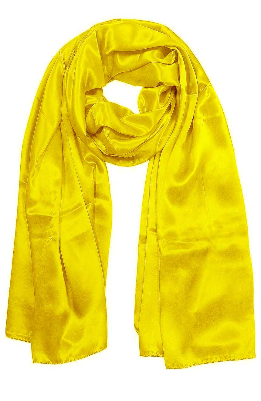Womens silk neck scarf in yellow 22×75 inches with plenty of material to wrap around the head or shoulders in many ways.