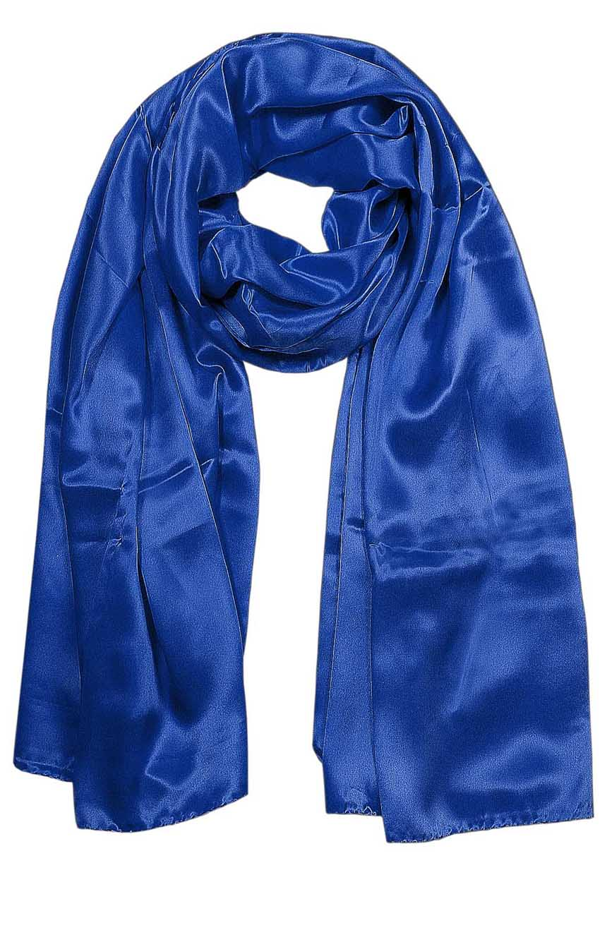 Womens silk neck scarf in blue 22×75 inches with plenty of material to wrap around the head or shoulders in many ways.