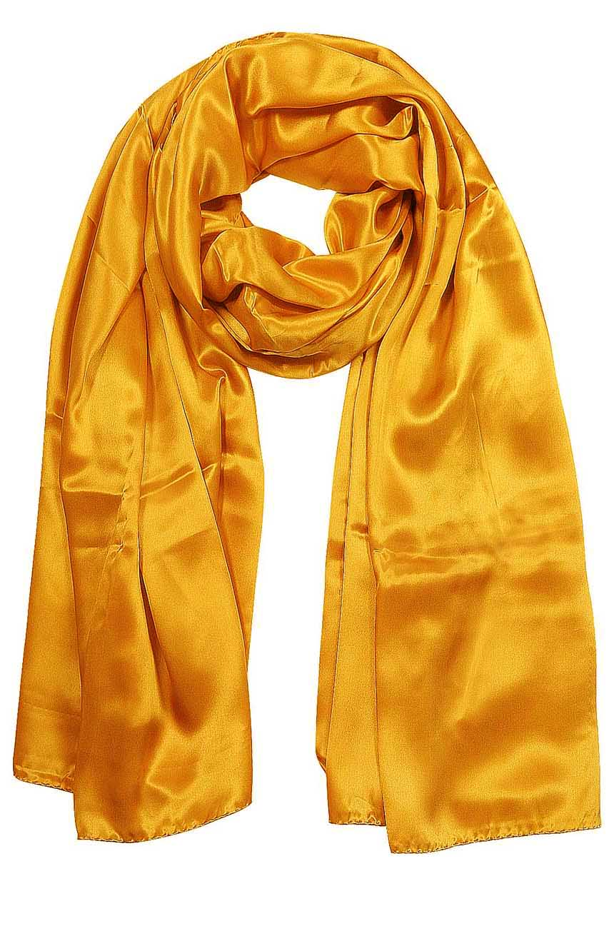 Womens silk neck scarf in carrot 22×75 inches with plenty of material to wrap around the head or shoulders in many ways.