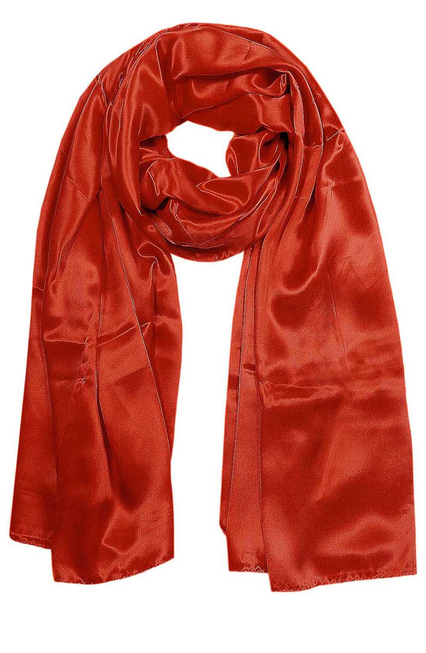 Womens silk neck scarf in vibrant orange 22×75 inches with plenty of material to wrap around the head or shoulders in many ways.