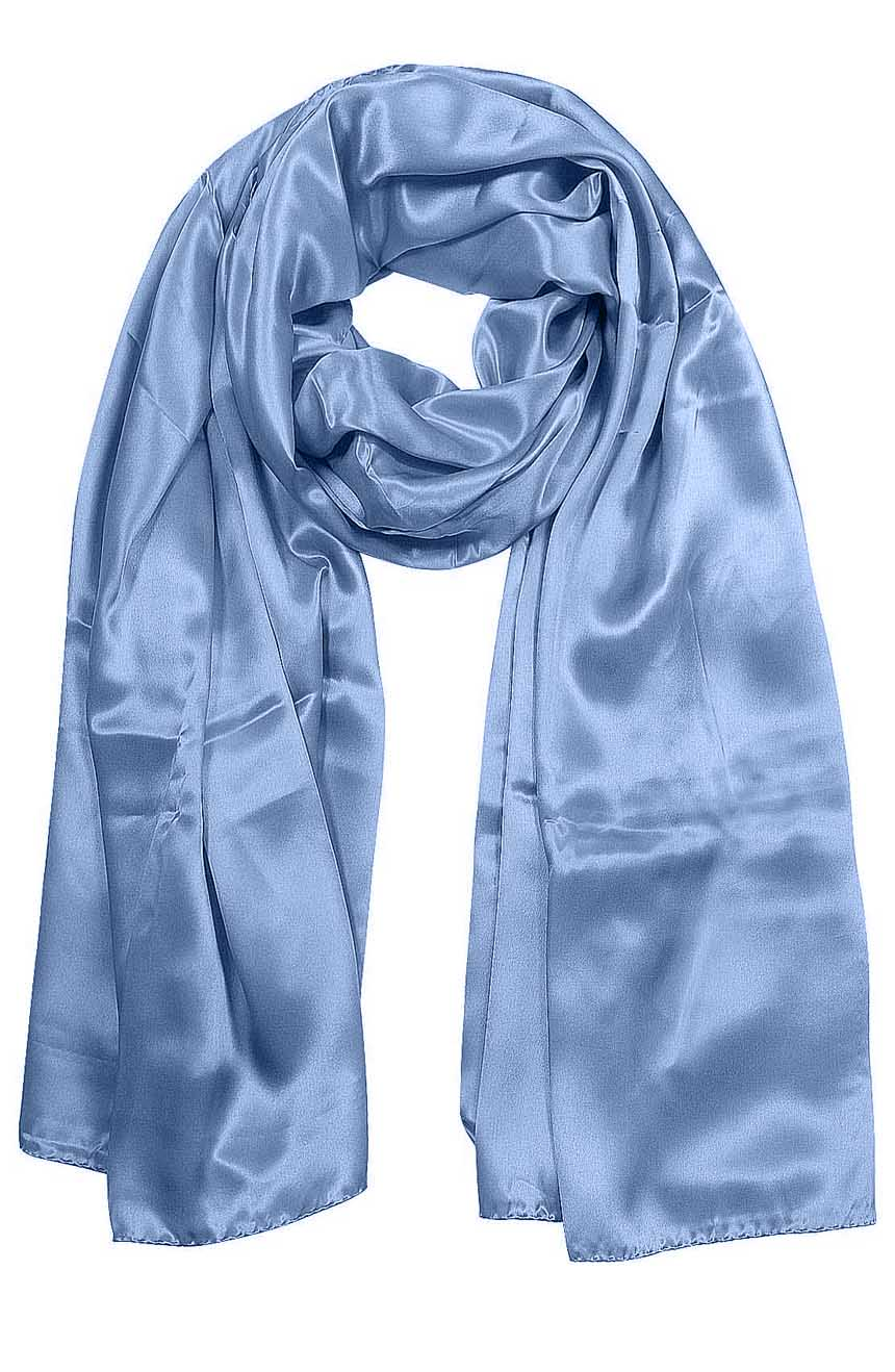 Womens silk neck scarf in slate blue 22×75 inches with plenty of material to wrap around the head or shoulders in many ways.