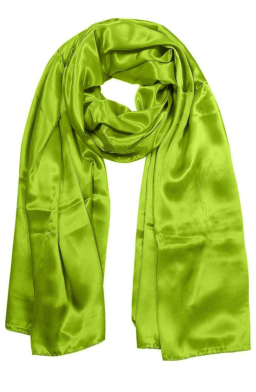 Womens silk neck scarf in chartreuse green 22×75 inches with plenty of material to wrap around the head or shoulders in many ways.