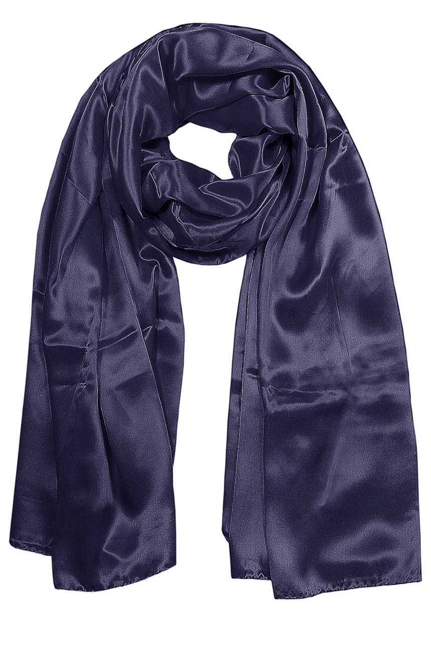 Womens silk neck scarf in navy 22×75 inches with plenty of material to wrap around the head or shoulders in many ways.