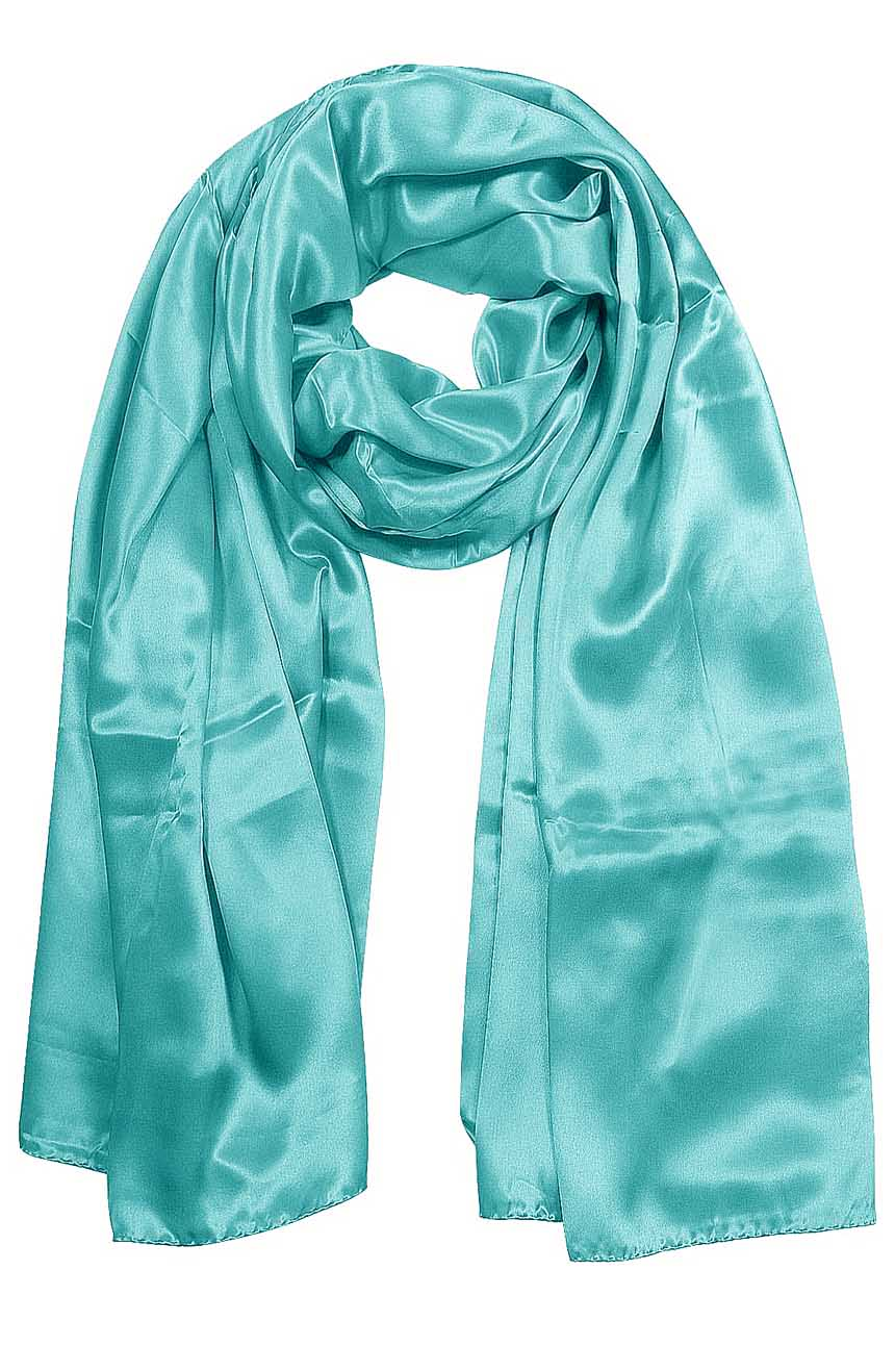 Womens silk neck scarf in Celeste blue 22×75 inches with plenty of material to wrap around the head or shoulders in many ways.