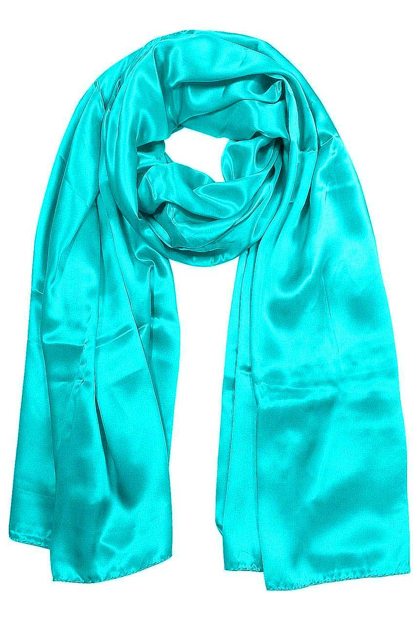 Womens silk neck scarf in turquoise 22×75 inches with plenty of material to wrap around the head or shoulders in many ways.