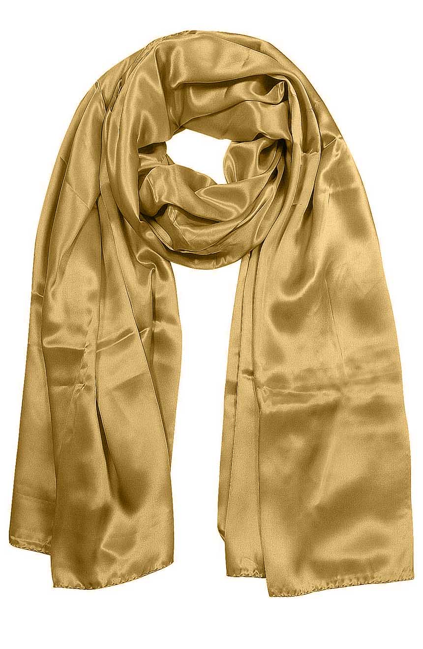 Womens silk neck scarf in wheat 22×75 inches with plenty of material to wrap around the head or shoulders in many ways.
