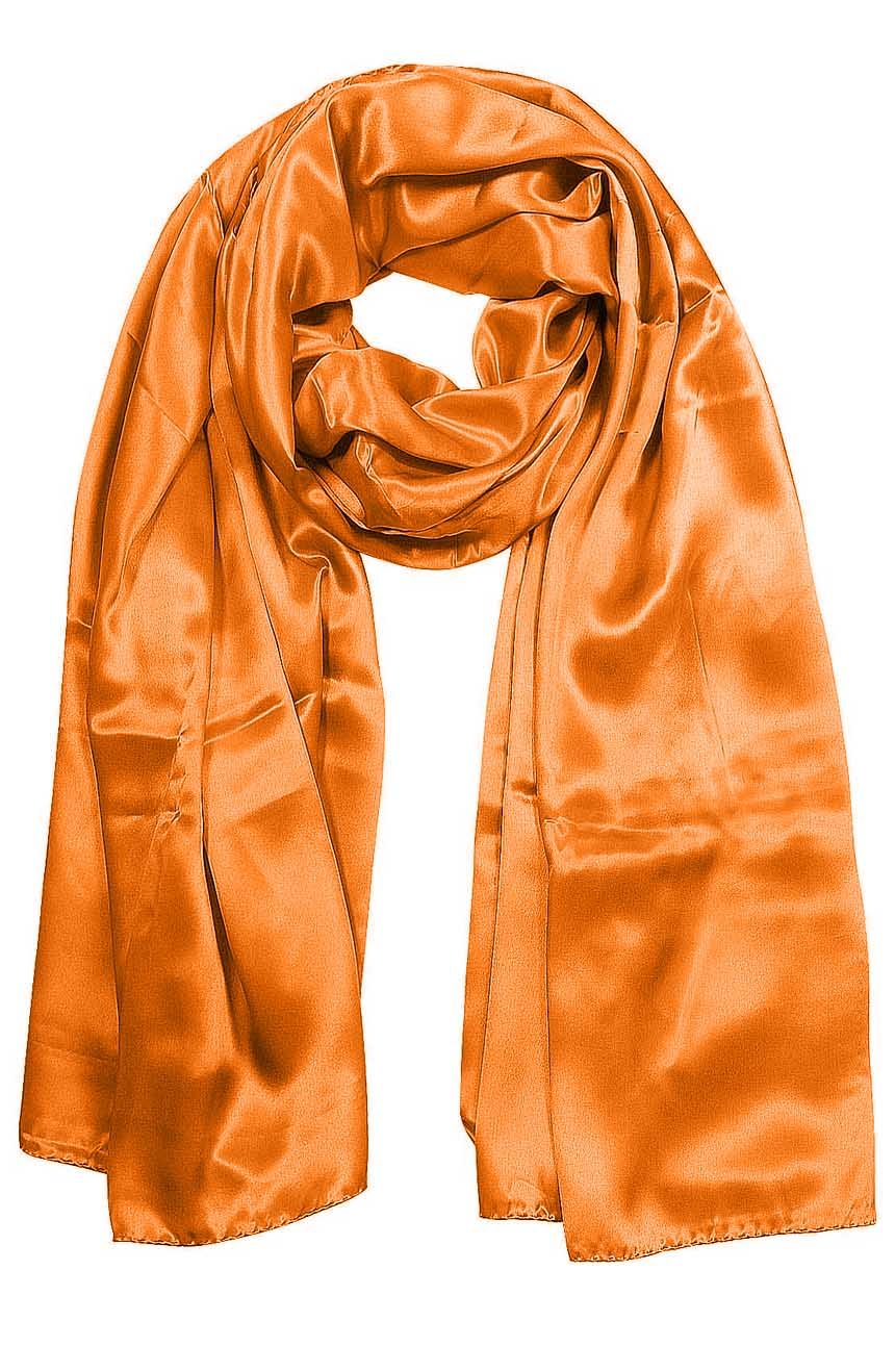 Womens silk neck scarf in pumpkin 22×75 inches with plenty of material to wrap around the head or shoulders in many ways.