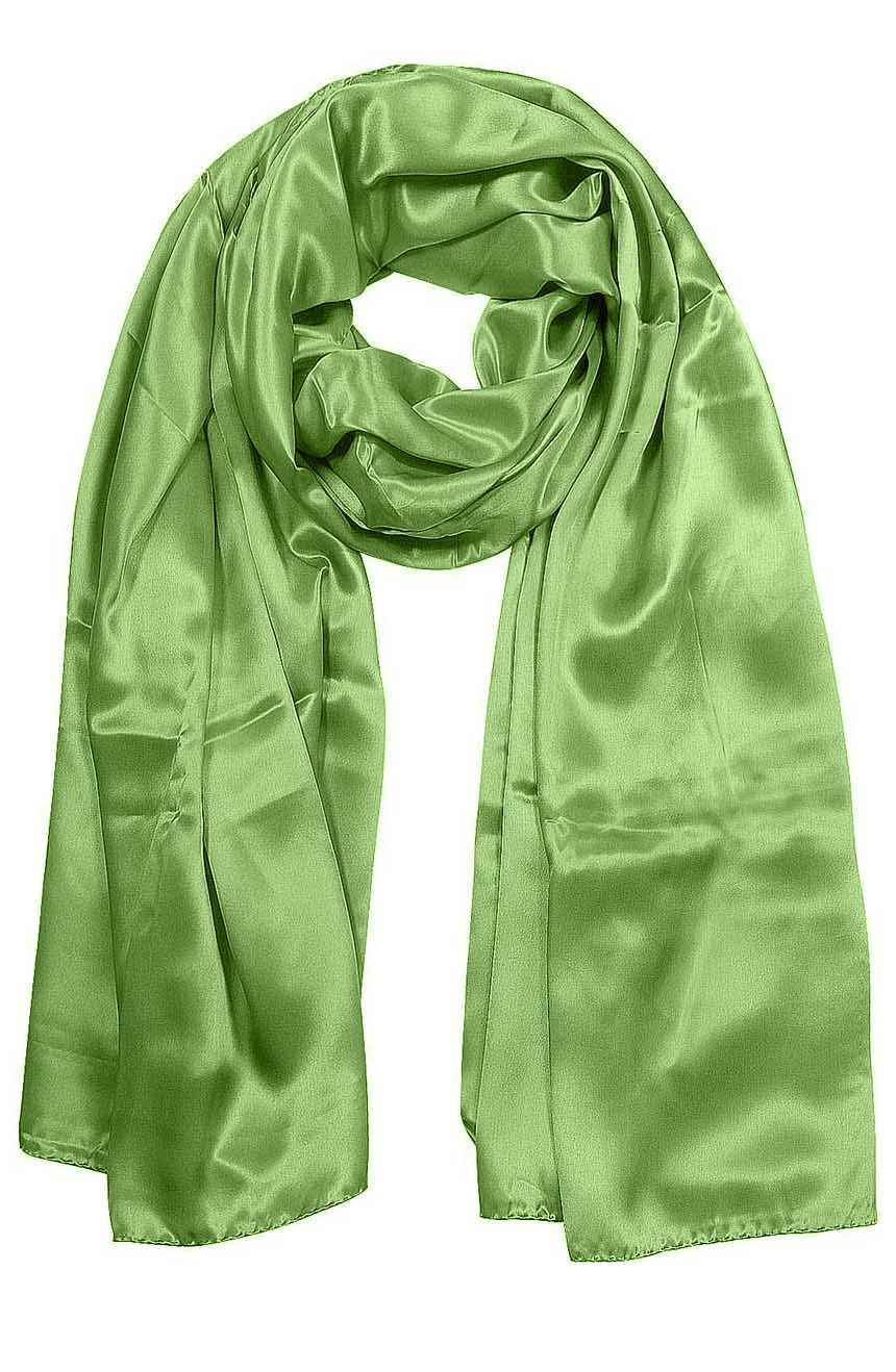 Womens silk neck scarf in pastel green 22×75 inches with plenty of material to wrap around the head or shoulders in many ways.