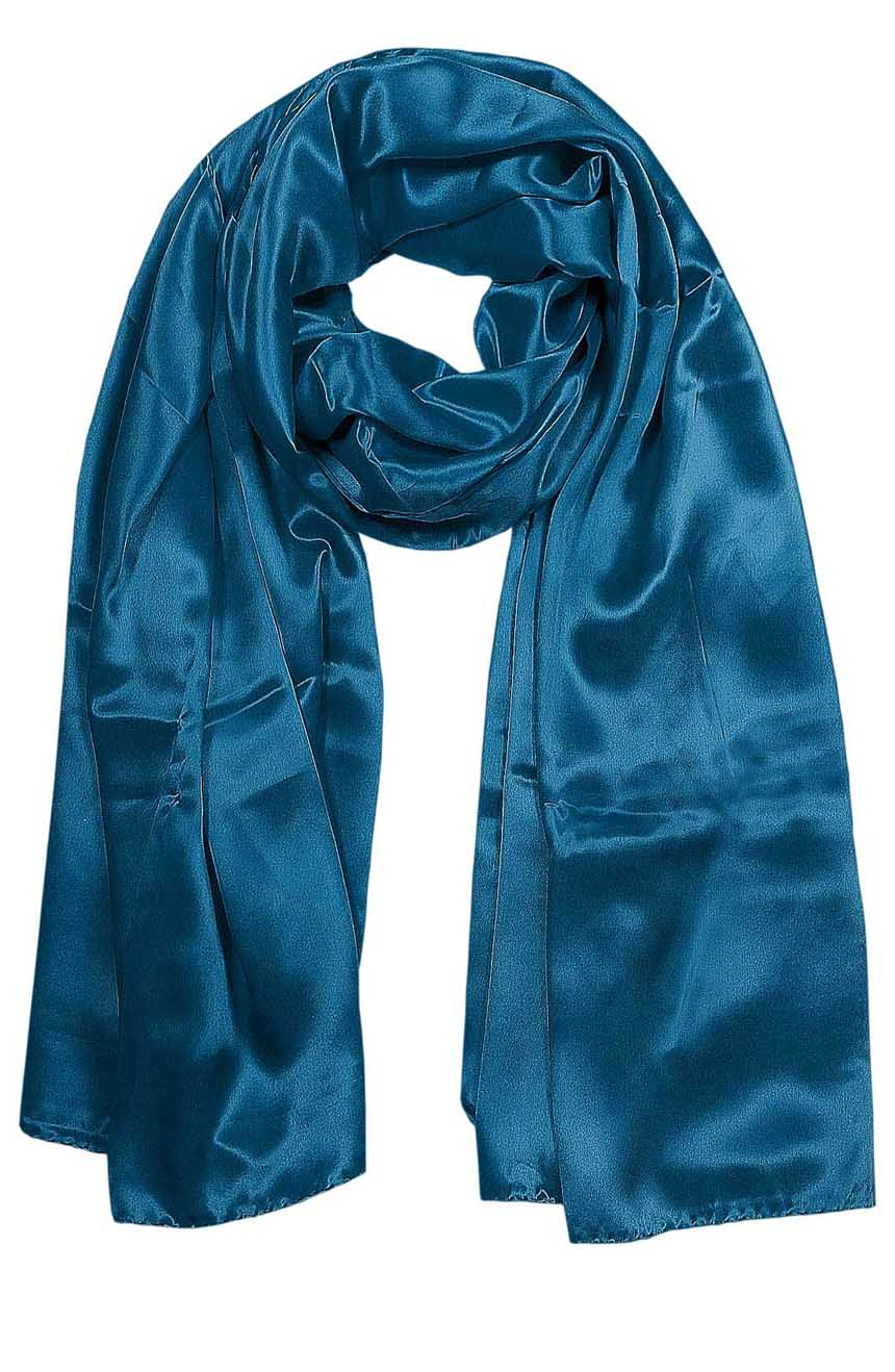 Womens silk neck scarf in petrol blue 22×75 inches with plenty of material to wrap around the head or shoulders in many ways.