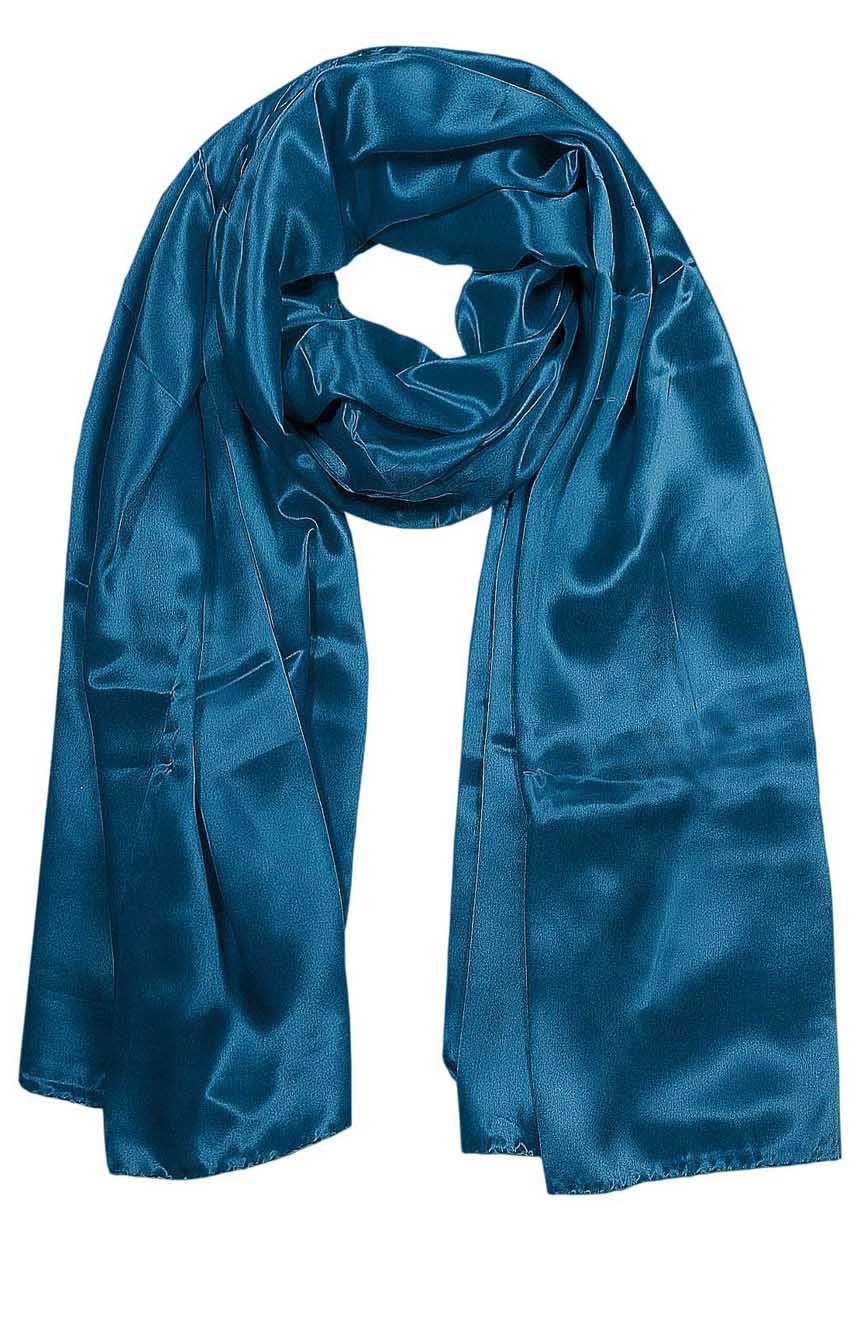 Petrol Blue mens aviator silk neck scarf 75 inches long in 100% pure satin silk.