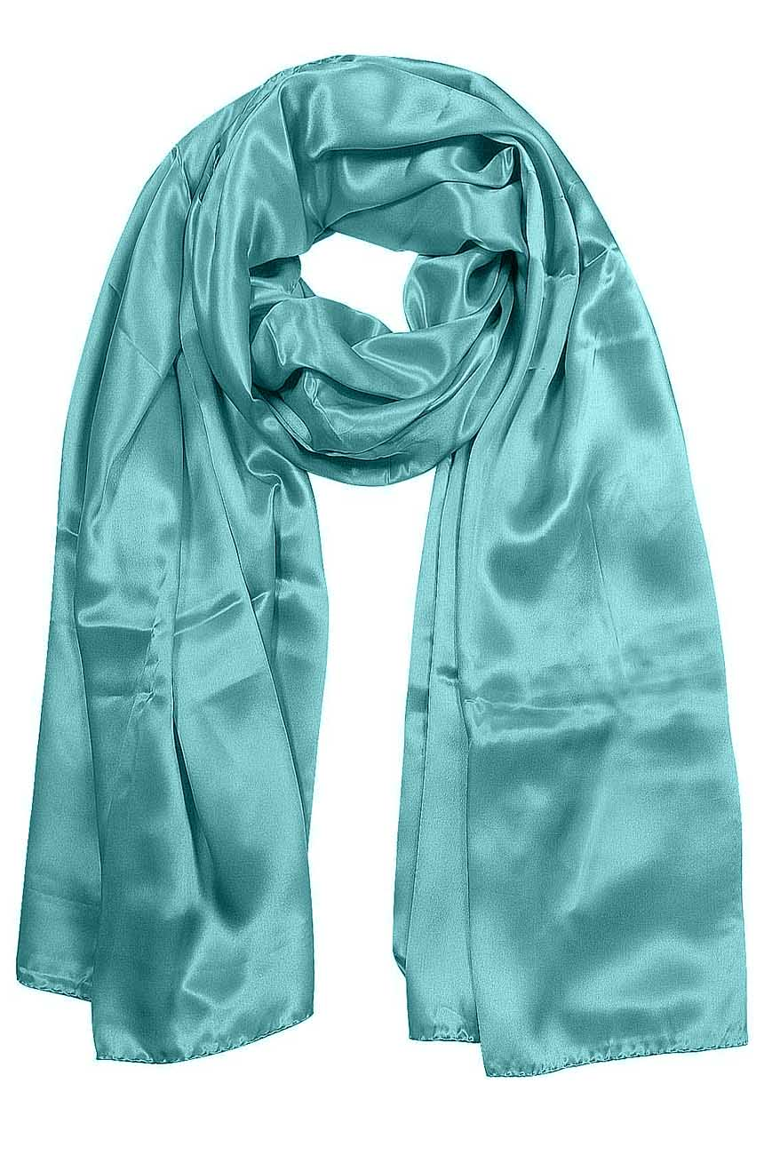 Womens silk neck scarf in aquamarine 22×75 inches with plenty of material to wrap around the head or shoulders in many ways.