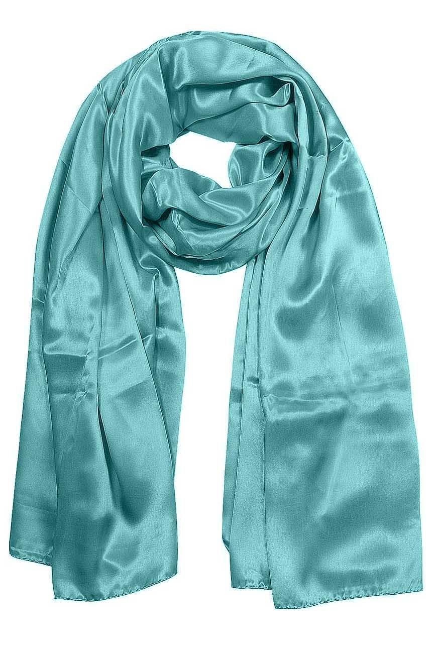 Aquamarine mens aviator silk neck scarf 75 inches long in 100% pure satin silk.