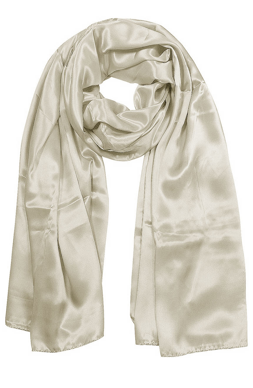 Womens silk neck scarf in off-white 22×75 inches with plenty of material to wrap around the head or shoulders in many ways.