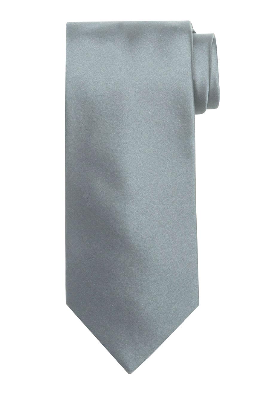 Mens handmade satin silk necktie in solid silver color.