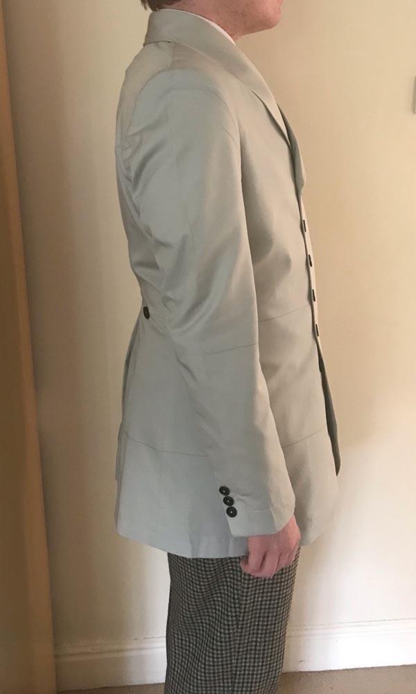 1st Doctor Who black dress coat try-on test garment, full right view.
