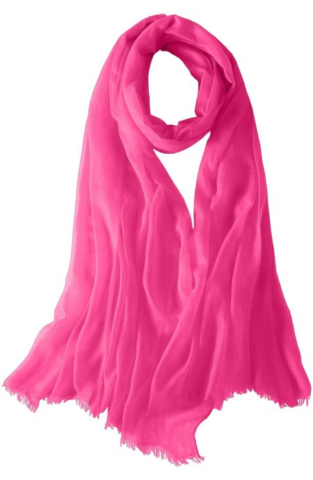 Featherlight cashmere scarf in royal pink color, pocketable, lightweight, & ultra-soft to keep you warm weigh just ounces, essential for all women.