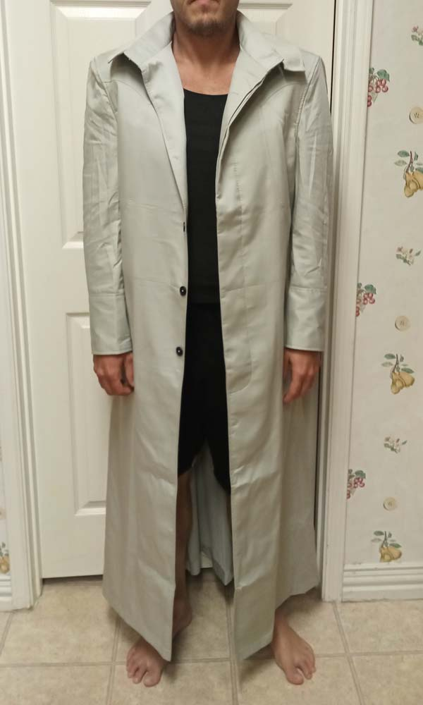 A free Matrix 1 Neo try-on test trench coat in cotton, a full front view.