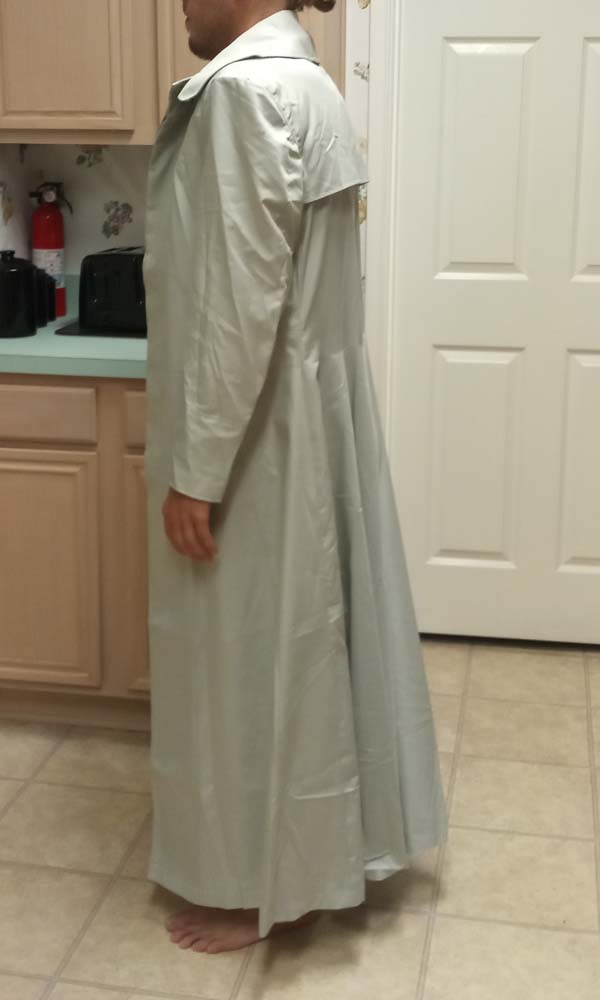 A free Matrix 1 Neo try-on test trench coat in cotton, a full side view.