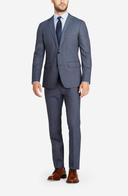 Slate blue wedding suit for men with 2 button closure and notch lapels, a full front view.