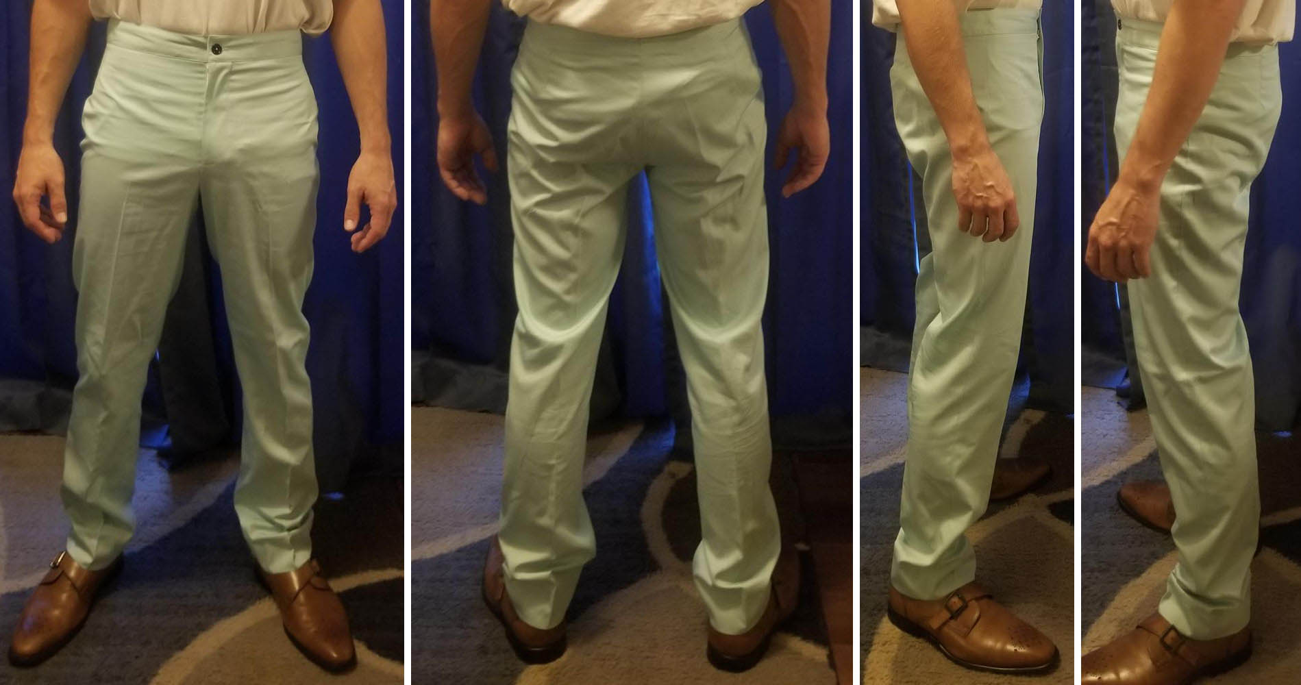 A male customer in Baron Boutique's double-breasted try-on suit pants.