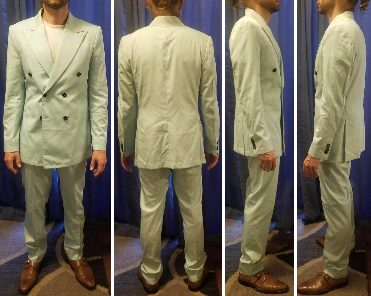 A male customer in Baron Boutique's double-breasted try-on suit.